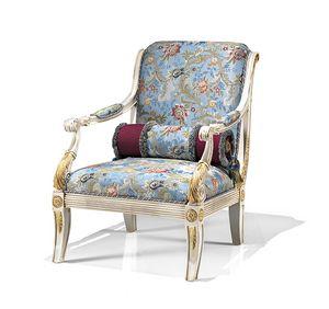 1730/A, Poltrona classica con rivestimento in tessuto sampato