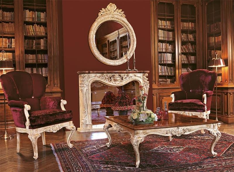 Art. 961/L, Poltrone per salotto di lusso, base in legno intagliato a ...