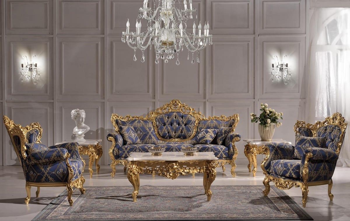 Poltrona classica di lusso con intagli idfdesign
