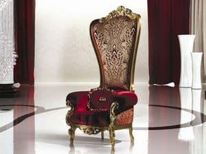 B/110/2 The Throne, Poltrona in legno massiccio, in stile classico, varie finiture