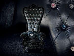 B/110/3 The Throne, Poltrone in legno, schienale imbottito capitonn�