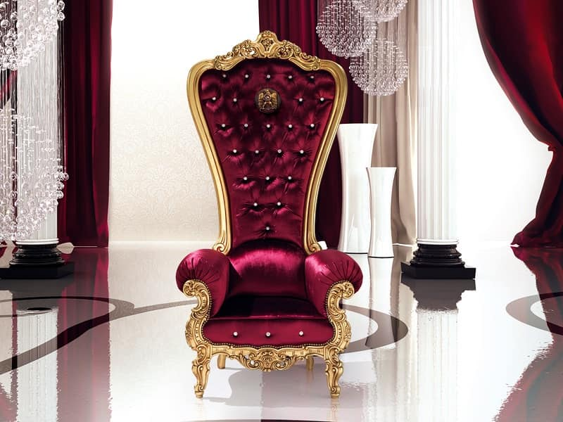 B/110/5 The Throne, Poltrona con rivestimento elegante, per Suite d'albergo