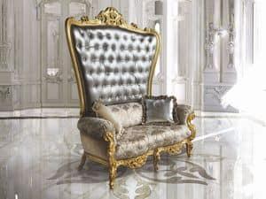 B/120/3 The Throne, Poltrona trono, schienale capitonn�, lavorata a mano
