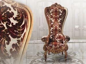B/160/1 The Throne, Poltrona in legno, con preziosi rivestimenti, per discoteche