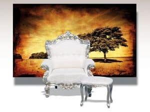 Barocco, Poltrona con decori a foglia argento, classica di lusso