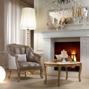 Belle Epoque 487 poltrona, Elegante poltrona dal design classico, in legno intagliato a mano, per salotti e alberghi