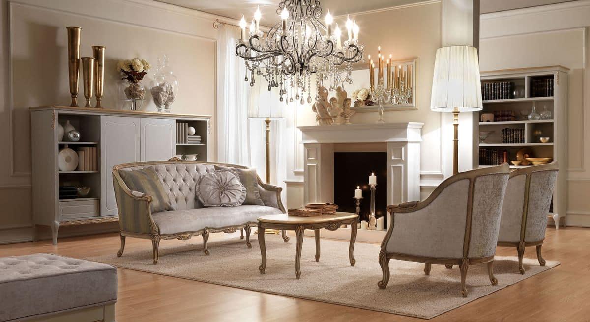 Elegante Mobel Malerei : Elegante poltrona dal design classico in legno intagliato