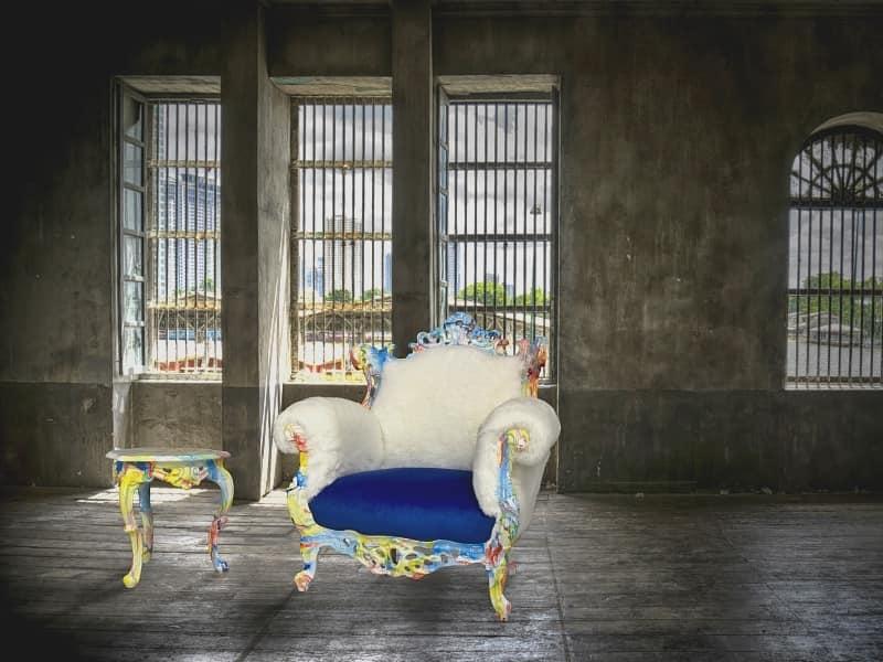 Finlandia Laccata Swirl, Poltrona glamour ideale per hotel, negozi e discoteche