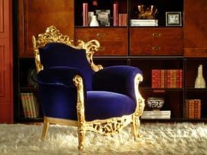 Finlandia Oro Tessuto, Poltrona di lusso, finitura foglia oro, intagliata artigianalmente