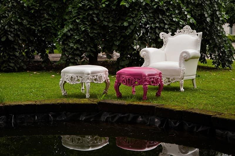 Finlandia Outdoor 452, poltrona e pouf in stile per esterno, poltrona rivestita in morbida gomma impermeabile, poltrona in stile barocco revisitato Giardino, Terrazzo, Piscina, Spiaggia