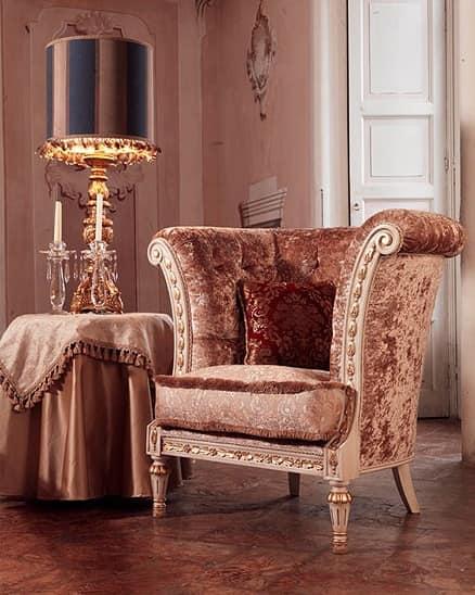 Monnet poltrona, Poltrona in stile classico di lusso, lavorazione capitonnè
