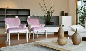 Myna, Poltrona ricca in legno, per Hotel di lusso