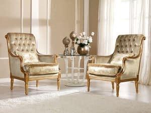Nives Poltrona capitonn�, Poltrona classica in faggio, decori preziosi, Residenza lussuosa