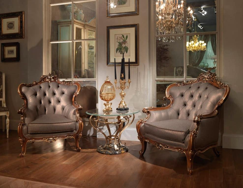 Poltrona intagliata classica di lusso idfdesign for Sofas de estilo clasico