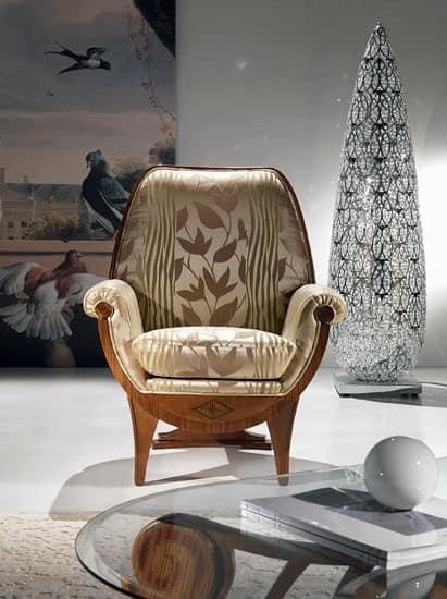 PO19 Confort, Poltrona imbottita, tessuto con decori floreali, classica di lusso