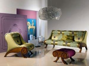PO21 Glamour, Poltrona con pouf, intarsiata, classica, per Hall d'albergo