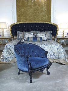 Poltroncina 3698, Poltrona classica in velluto blu