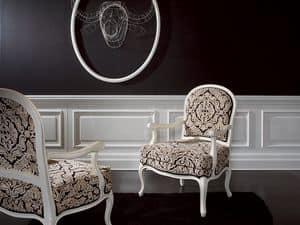 Poltroncina Doge Fidia, Poltrona con rivestimento elegante, per hotel di lusso
