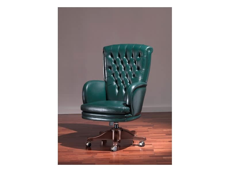 Poltrona stile antico, in pelle verde, per ufficio prestigioso  IDFdesign