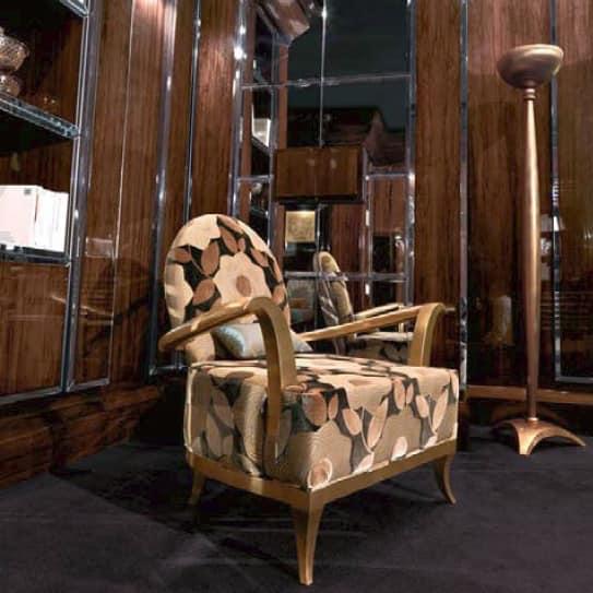 Poltrona in legno, foglia oro, per elegante camera da letto ...