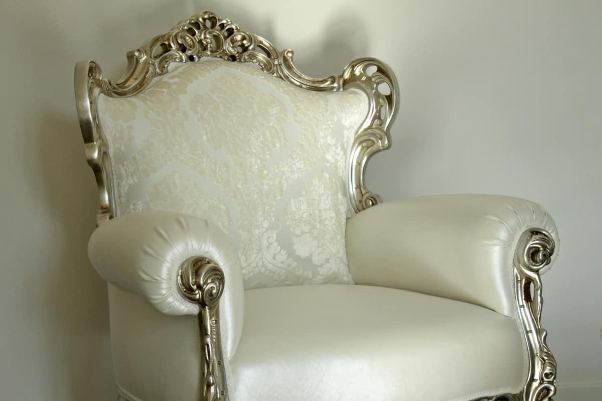 Stradivari tessuto, Poltrona laccata bianca, in pelle, stile new barocco