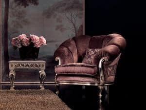 Valeria poltrona, Poltrona in velluto, finiture in argento, per soggiorni di lusso