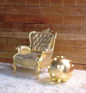 296 Filippone, Poltrona finiture foglia oro adatta per arredare case e hotel