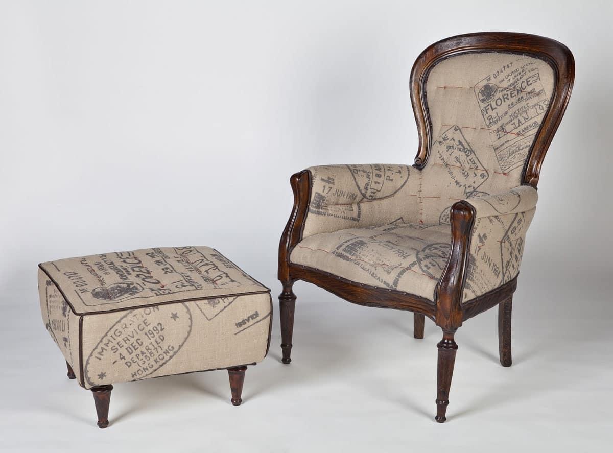 poltrona in legno e juta in stile classico idfdesign