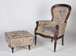 Art. 581, Poltrona in legno e juta in stile classico
