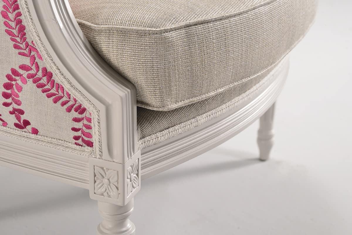 BLANCHE poltrona 8652A, Poltroncina in legno decorato, imbottita, personalizzabile
