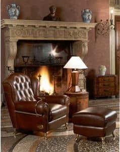 Cigar Chair, Poltrona in stile classico, in pelle con finitura capitonn�