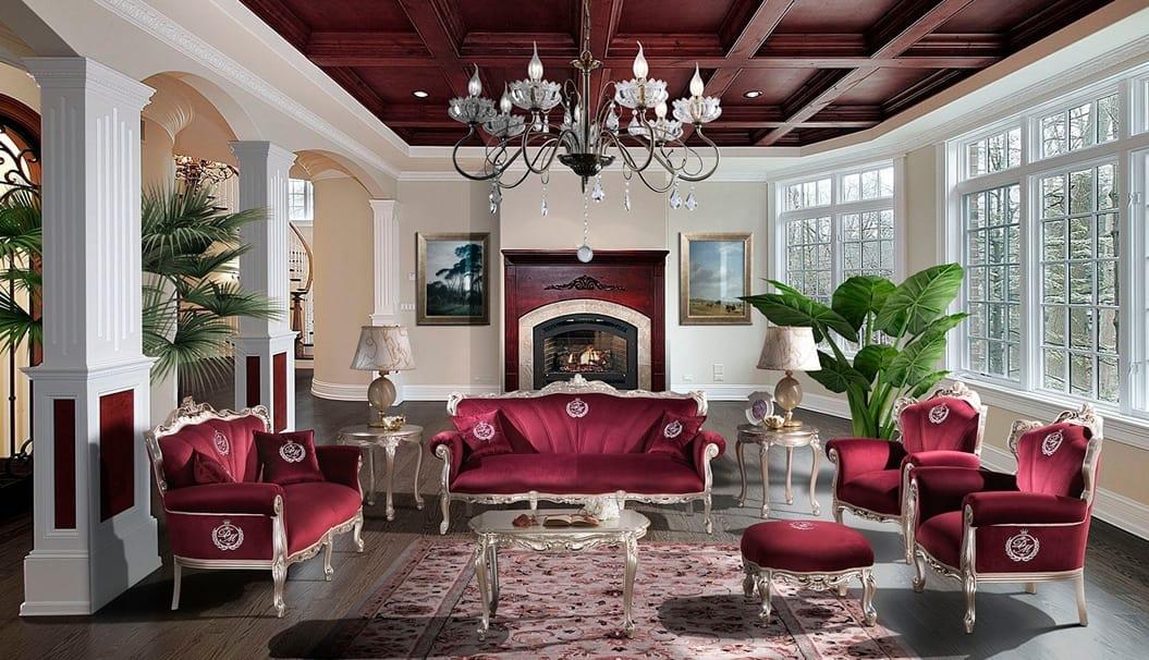 HERMITAGE poltrona, Poltrona classica rivestita in velluto rosso