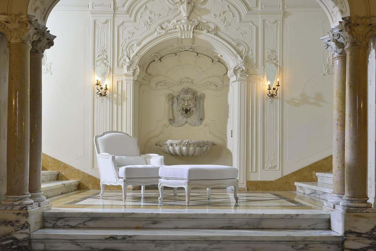 MARLENE poltrona 8653A, Poltrona imbottita, intagliata, in stile classico di lusso