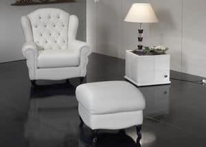 My Chair, Poltrona con imbottitura capitonn� in pelle plissettata