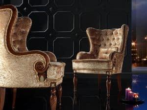 VALERIA poltrona 8495A, Poltrona classica, schienale capitonn�, per residenza lussuosa