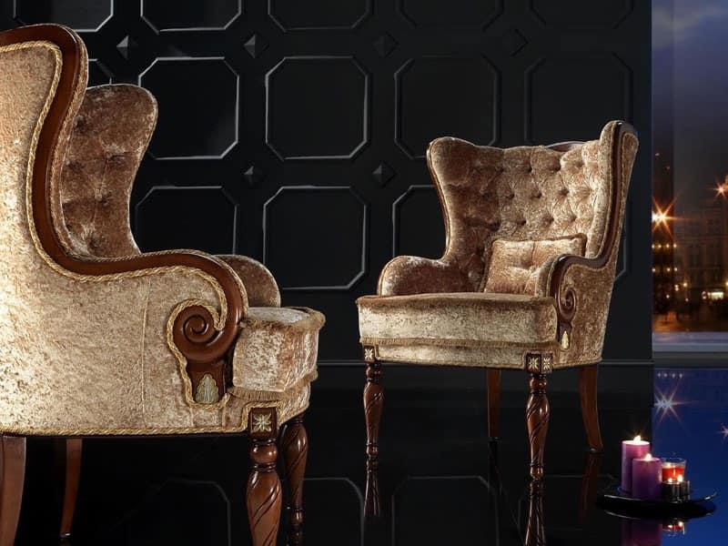 Poltrona classica, schienale capitonnè, per residenza lussuosa ...