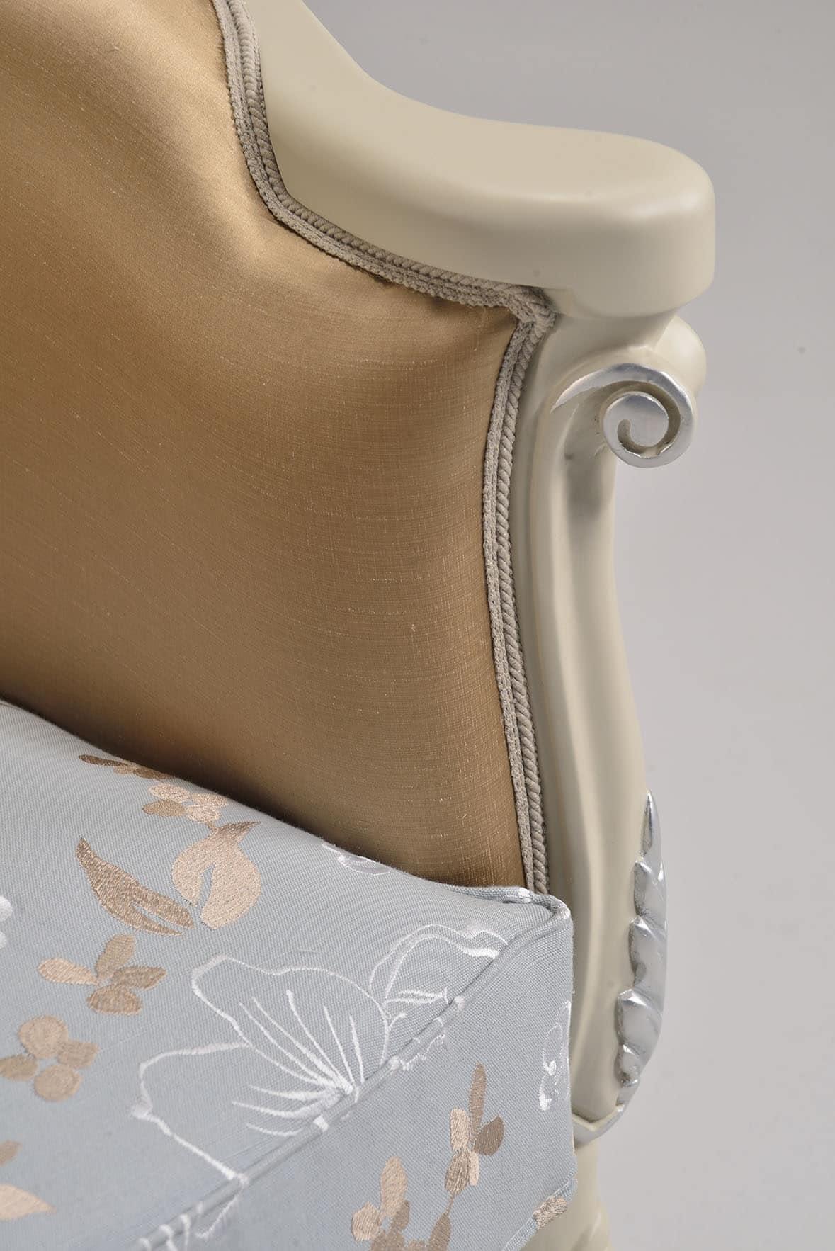 VENEZIA poltrona 8294A, Poltrona in stile classico con finitura in foglia d'argento