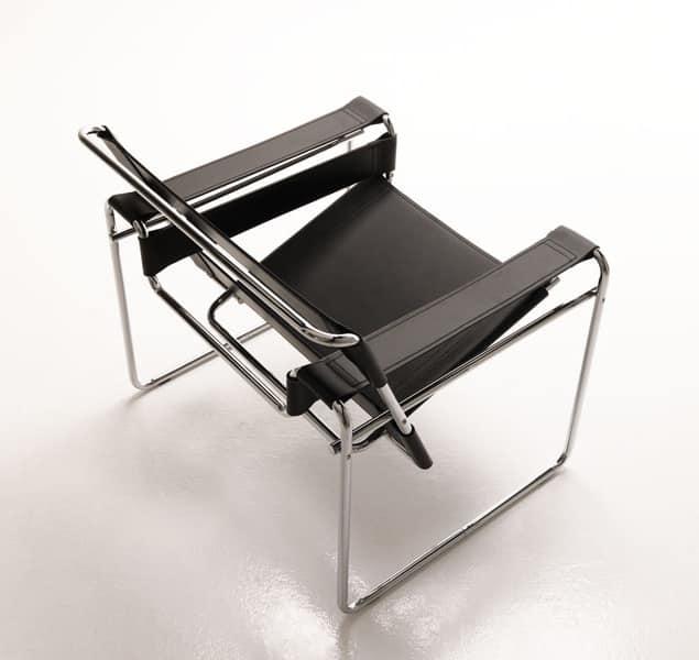 Mimosa, Poltrona design, base in metallo, per ufficio e area attesa