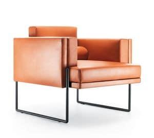 Quid poltrona, Poltrona essenziale di design, con gambe in metallo