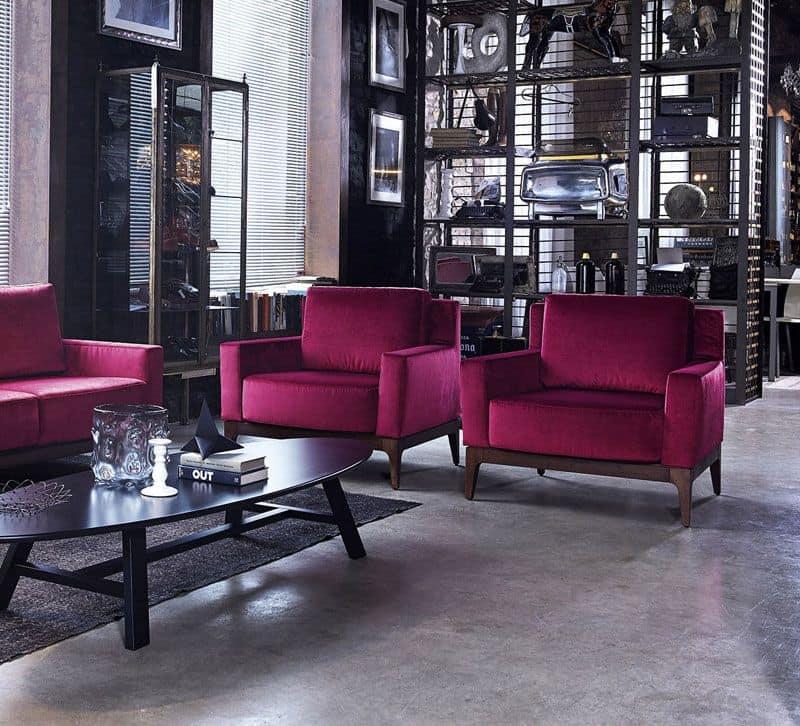 Contour poltrona lounge c/bra plxl, Poltrona moderna, imbottita, per salotto e alberghi