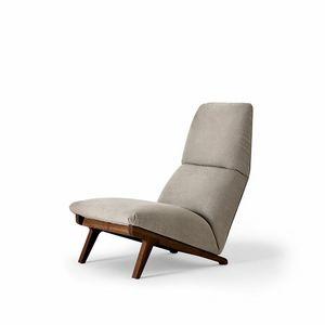 Lisbeth, Poltrona design, stile auto anni '50, base in noce