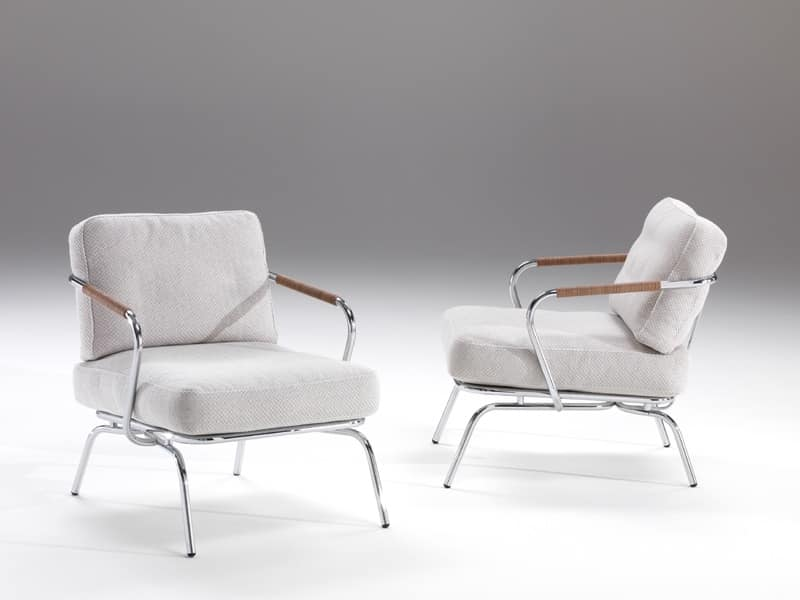 Poltrona confortevole con struttura a vista in acciaio idfdesign - Poltrone moderne design ...