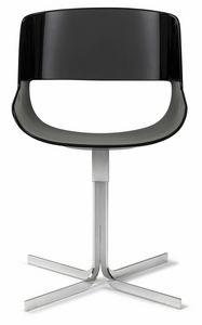 Amaranta sedia base X fissa 25.0030, Sedia dalle linee moderne