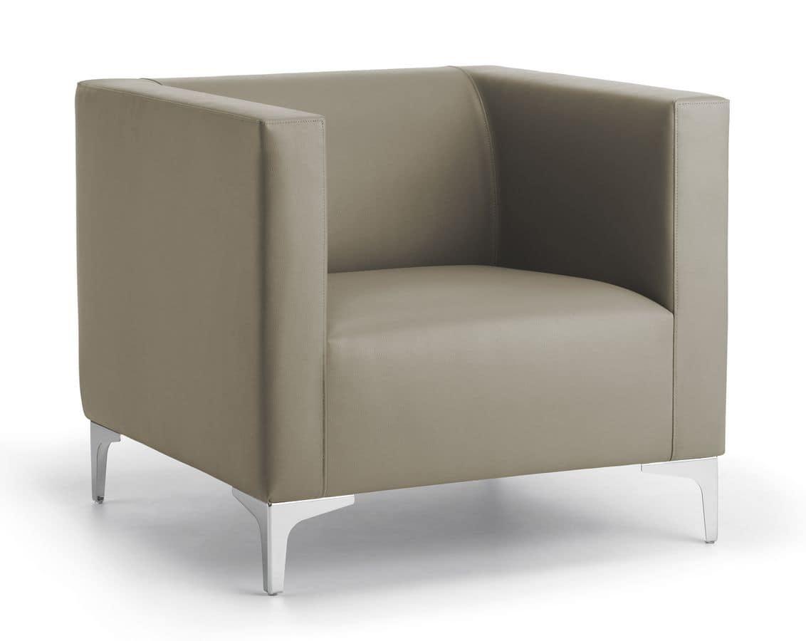 Poltrona imbottita base in acciaio per ufficio e sala d 39 aspetto idfdesign - Poltrone moderne design ...