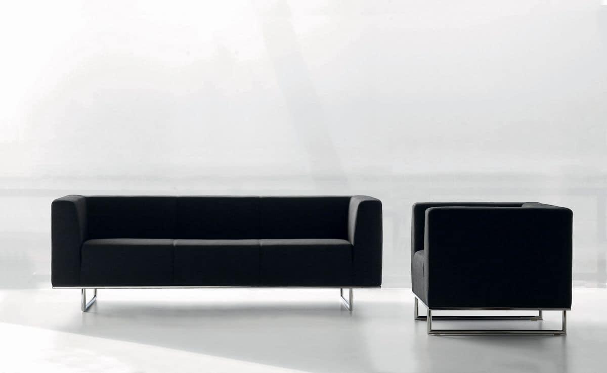 CHIC poltrona, Poltrona in pelle, equipaggiabile con caricabatteria per smartphone e tavolino, per ufficio e sala attesa