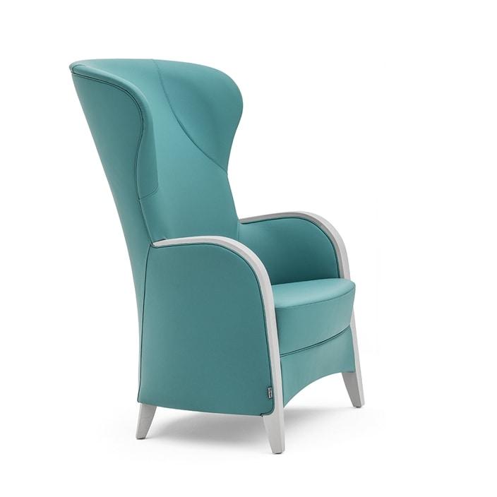 Euforia 00143, Poltrona in legno massiccio, seduta e schienale imbottiti, braccioli in legno, stile moderno