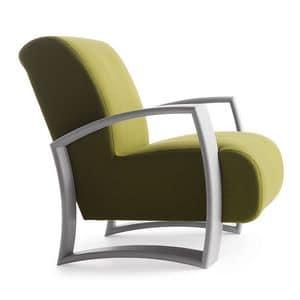 Harmony 01241, Poltrona con struttura in legno, seduta e schienale imbottiti, copertura in tessuto, stile moderno
