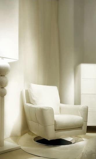 Poltrona rivestita in pelle imbottitura in piuma d 39 oca idfdesign - Poltrone moderne design ...