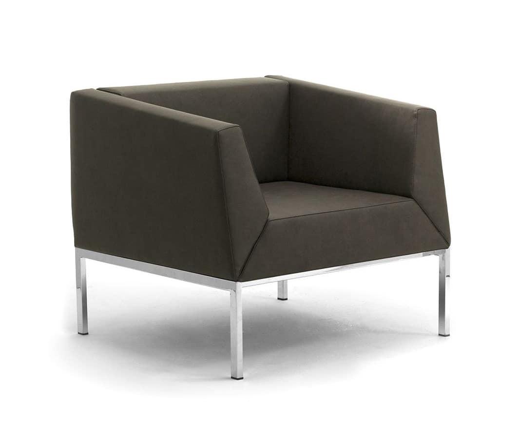 Poltrona e divano con gambe in metallo e scocca imbottita idfdesign - Poltrone moderne design ...