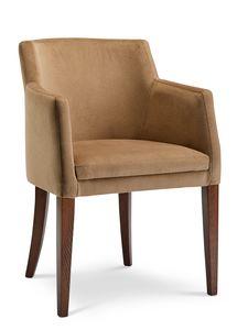 MILANO P, Poltrona in velluto con gambe in legno